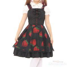 "Japanese anime ""shiki"" collaboration dress Pattern of large strawberries is impressive. PEACE NOW is Japanese Lolita Fashion brand. #lolitafashion"