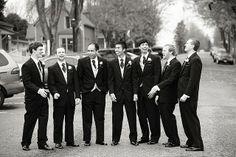 Groomsmen lined up along the main street in Port Gamble, WA 360-297-8074