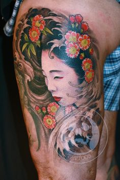 geisha tattoo by Jeff Gogue of Grants Pass, OR