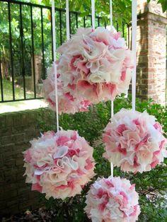 Shabby Chic Baby girl  mobile  silk  5 silk balls by