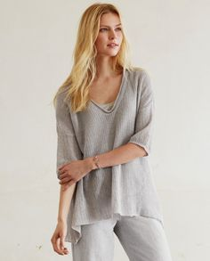 Poetry - Open Stitch Linen Tunic - A lovely, summer-weight tunic in pure linen, knitted with a loose open stitch. Very relaxed styling with an A-line silhouette and dropped side seams for a slightly swingy fit. Light and breathable, its perfect over our linen jersey vests. 100% linen