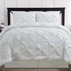 Comforter Set 4 Piece Pinch Pleat Pintuck Durable Stitching Luxury Modern Hypoallergenic All Season Soft Bedding - with Pillow Shams and Bed Skirt - Solid White Oversized California King Size Throw Pillows Bed, Pillow Shams, Modern Duvet Covers, Modern Bedding, Duvet Cover Sets, Comforter Sets, California King, King Size, Comforters