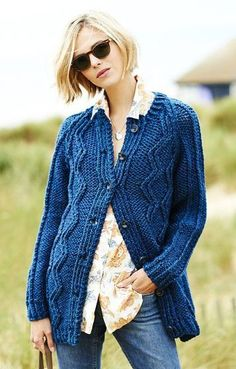 Raglan Coatigan Free Knitting Pattern in Super Bulky Yarn - Stylecraft's long-sleeved cardigan features diamond cables. Fast knit in super chunky yarn. To Fit Bust: 30/32 – 46/48″