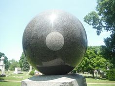 The Legend: the ball rotates by itself..in this picture...the circle in the middle of the ball is really where it is supposed to rest on it's support. Many theories as to why. Marion, Ohio