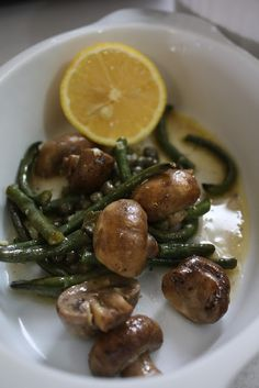 Garlic Butter Roasted Mushrooms and Long Beans