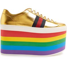 Gucci Peggy low-top rainbow-platform trainers (€725) ❤ liked on Polyvore featuring shoes, sneakers, gold multi, gucci sneakers, platform shoes, red platform shoes, leather sneakers and red leather sneakers