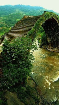 A moon bridge is a highly arched pedestrian bridge associated with gardens in China and Japan. The moon bridge originated in China and wa. Places Around The World, Oh The Places You'll Go, Places To Travel, Travel Destinations, Places To Visit, Travel Tips, Beautiful World, Beautiful Places, Beautiful Dogs
