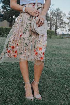 Embroidered blush midi skirt