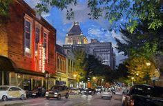 "Phillip Philbeck ""Elm Street, Greensboro"" Giclee on Canvas Land Use, Elm Street, North Carolina, Pond, Original Paintings, Art Gallery, Street View, Fine Art, Landscape"