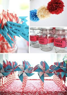 Carnival-themed decorations and escort cards, handmade by one of the brides.