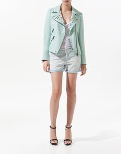 LINEN DOUBLE BREASTED JACKET WITH STUDDED LAPELS - Collection - Woman - SALE - ZARA United States