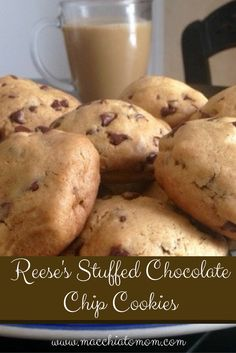 Delicious Reese's peanut butter cup stuffed chocolate chip cookies. Out of this world!