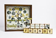 """FAmily tree display project with a shadow box, blocks and """"Lush"""" papers from My Mind's Eye"""