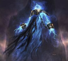 Spirit (Avacyn Restored). Art by Dan Scott  Much like the early stages of dr. Manhattan, strom geister is reduced to a nervous system of electricity