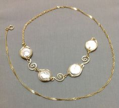 Natural Pearl 14k gold filled wire wrapped by OritWhiteLight