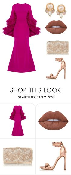 """gala"" by carterraven on Polyvore featuring Christian V Siriano, Lime Crime, L.K.Bennett, River Island and Carolee"