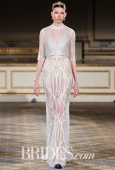 Brides: Berta - Fall 2016. Illusion see-through handcrafted netting & lace dress, silver tone with a matching bolero, Berta