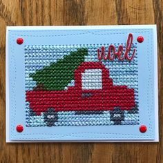 Paper Embroidery Ideas Old Red Truck. This one is a favorite of mine. I used the Paper Smooches die, MFT Wonky rectangles, and Tim Holtz Holiday word dies. Paper Embroidery, Learn Embroidery, Cross Stitch Embroidery, Cross Stitch Patterns, Embroidery Patterns, Cross Stitch Christmas Ornaments, Christmas Cross, Xmas, Stitching On Paper