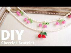 DIY🍒How to make Small Beaded Cherries Charm Bracelet| tutorial |ビーズでキュートなさくらんぼブレスレットの作り方♪大人|子供|チャーム - YouTube Beaded Flowers Patterns, Bead Crochet Patterns, Bead Crochet Rope, Beaded Jewelry Patterns, Diy Crafts Jewelry, Handmade Beaded Jewelry, Bracelet Crafts, Bead Crafts, Seed Bead Jewelry