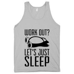 Lets Just Sleep, Pokemon, Snorlax, Workout Shirt, Silver American Apparel Tank Top