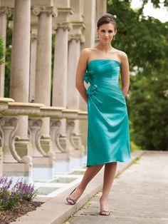 Crepe Back Satin Strapless Asymmetrical Pleated Bodice A-line Bridesmaids Dress