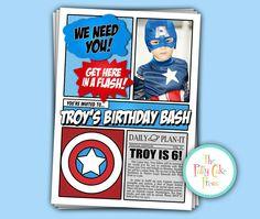Captain America Invitation With photo, Birthday Party Custom Printable Digital File Super Hero Spiderman Superman Batman Superhero