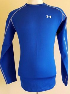 UNDER Armour MENS Shirt XL Cold GEAR Fitted TOP Blue INFRARED Thermo CREW Size** #UnderArmour #ShirtsTops