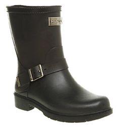 Womens Hunter Shoreditch Biker Welly Black Rubber Boots
