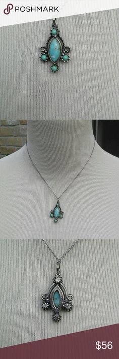 """Vintage Native American Turquoise Necklace The colors in this sleeping beauty turquoise are awesome. I love that it has a bit of veining in it! Unmarked but tests silver. Come with the 16"""" chain. True vintage in excellent condition with no flaws. Elegant and free spirited at the same time, this will become one of your favorite necklaces. Vintage Jewelry Necklaces"""
