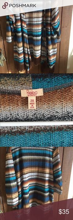 Reba ombré colored open front sweater 2X Reba gorgeous colors open front cardigan with brown fringe sz 2X Reba Sweaters Cardigans