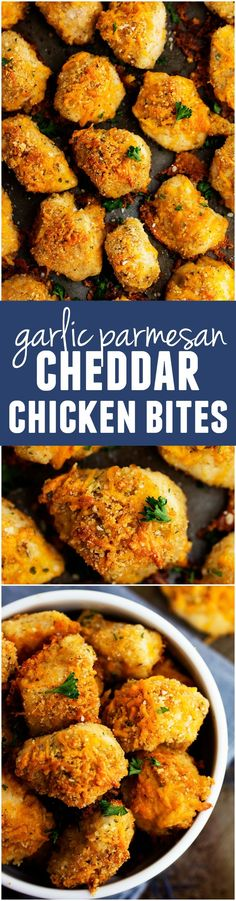 These Baked Garlic Parmesan Cheddar Chicken Bites will blow your mind!! They are crispy tender and juicy on the inside and the flavor is amazing!