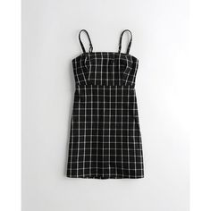 Hollister Plaid Square-Neck Dress (135 PLN) ❤ liked on Polyvore featuring dresses, black check, tartan dress, hollister co dresses, checked dress, checkered dress and tartan plaid dresses