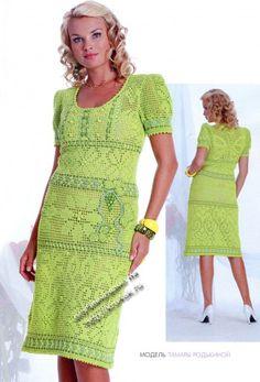 фото вязаного крючком платья в филейной технике