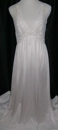 Vintage Barbizon Nightgown Lg Long Eggshell White Nylon, Lingerie, RN52327 #Barbizon