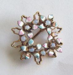 Dainty & Sweet Vintage Art Nouveau pink and blue enamel Flower Pin w/ Moonstones  | eBay Art Nouveau, Moonstones, Vintage Art, Pink, Old Things, Brooch, Ebay, Jewelry, Baby Born