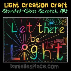 Let There be Light Stained-glass Scratch Art Craft for Creation Lesson Day 1 from www.daniellesplace.com