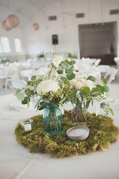 moss centerpieces | aqua and clear mason jar vases + moss centerpieces