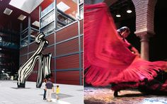 Left: Artwork at the Reina Sofía Museum, in Madrid. Right: A performer at the flamenco museum in Seville. Caitlin