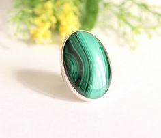 OOAK Malachite Ring - Artisan ring - Gemstone ring - Bezel ring