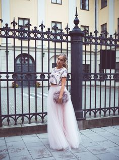 The Tulle Skirt. It Doesn't Get More Feminine Than That -- Kenza Zouiten is wearing a embellished top, a tulle skirt from Ida Sjöstedt and a fluffy bag from Asos