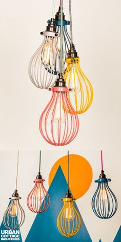 Here is a fun kids room idea: colorful cage pendant lights. These DIY lights can make children's room extra colorful and fun! This is one of those kids room lighting ideas you want to try. Kids Room Lighting, Pendant Lighting Bedroom, Living Room Lighting, Room Lights, Lighting Ideas, Nursery Lighting, Bedside Lighting, Cage Pendant Light, Pendant Lights