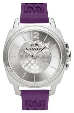 COACH 'Boyfriend Small' Logo Embossed Silicone Strap Watch, 34mm available at #Nordstrom