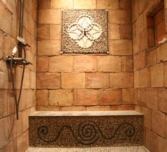 CAC Mosaic Designs - Custom mosaic Pebble and Shell Mosaic Stained Glass Mosaic, Glass Tile, Bath Design, Rustic Shower, Shell Mosaic, Shower Design, Mosaic, Mosaic Glass, Glass Mosaic Tiles
