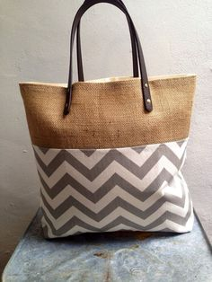 Gray and white burlap tote bag by PoppyKosh on Etsy