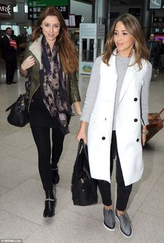Casual: Pregnant Una and Rachel were dressed-down but still looked glamorous as they arriv...