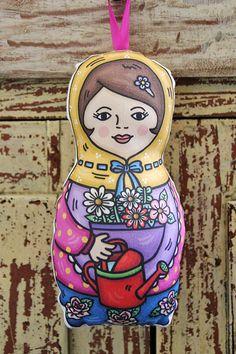 Garden Babushka Mo Doll  Yellow scarf by littlemoandfriends, $20.00