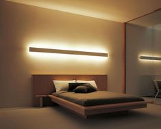 Indirect lighting … - Home Decor Bedroom Bed Design, Home Bedroom, Modern Bedroom, Bedroom Decor, Master Bedroom, Guest Bedrooms, Minimalist Bedroom, Bedroom Lighting, Home Lighting