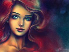 #Ariel #mermaid #red #hair #blue #eyes