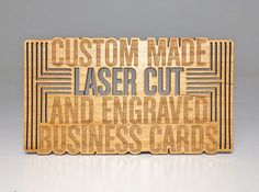 Custom made laser cut and engraved business cards