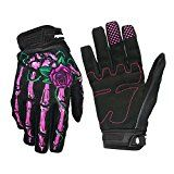OutMall Cycling Gloves Skeleton Full-Finger Touchscreen Bike Gloves for Men/Women Bicycle Riding Motorcycle Racing Airsoft Paintball Lifting Fitness Hunting Climbing Outdoor Sports (Pink M)